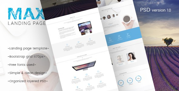 Max - Landing Page PSD Template