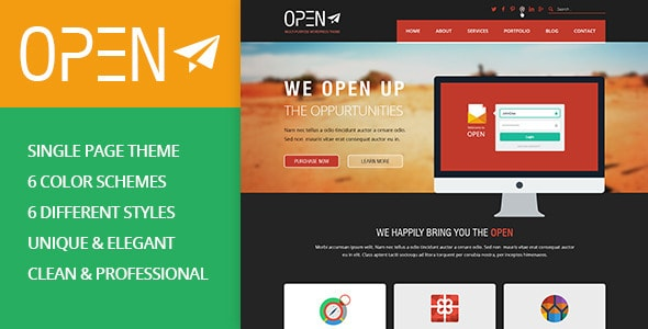 OPEN - Single Page Multi-purpose PSD Theme