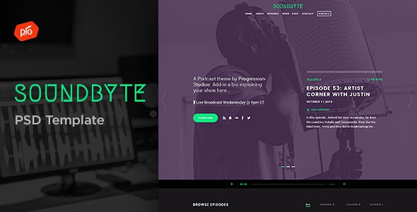Soundbyte - Podcast/Audio PSD Template