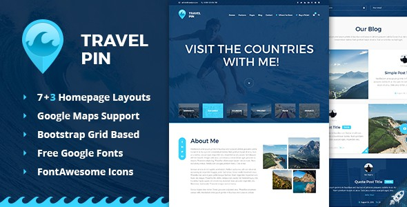 Travel Pin - Travel Blog, Magazine and One Page PSD Template