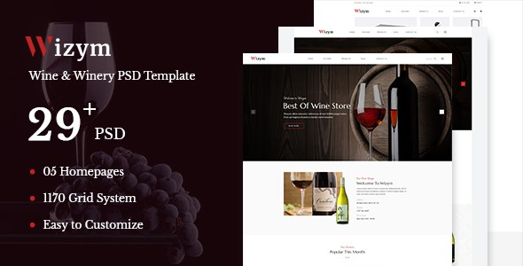 Wizym | Wine & Winery PSD Template