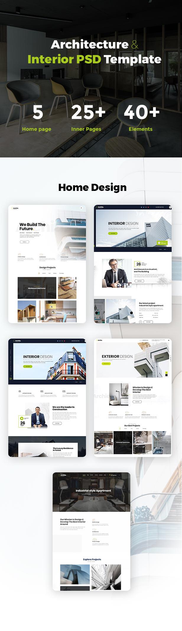 Archia - Architecture & Interior PSD Template - 2