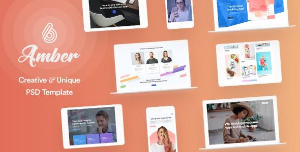 Amber Six - Creative Multipurpose PSD Template