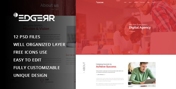 EDGERR - Consulting,Finance, Business Agency PSD Template
