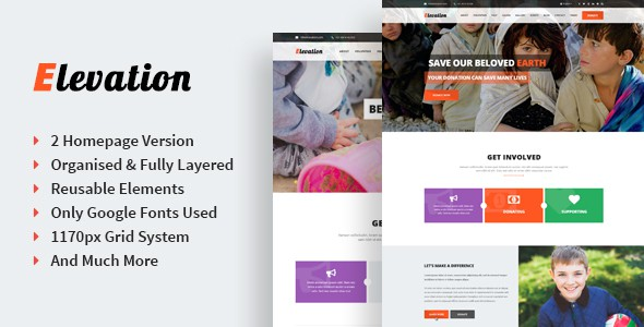 Elevation - Singe Page Nonprofit & Charity PSD Template