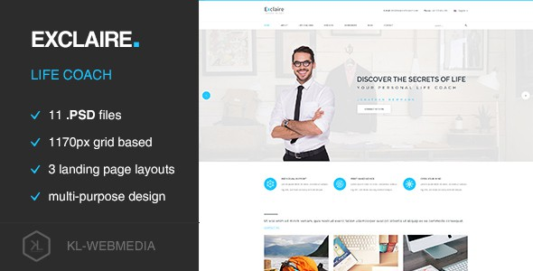 Exclaire - Personal Life Coach PSD template