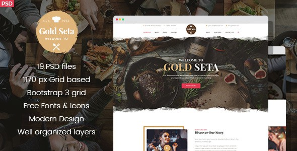 Gold Seta - Cafe PSD Template
