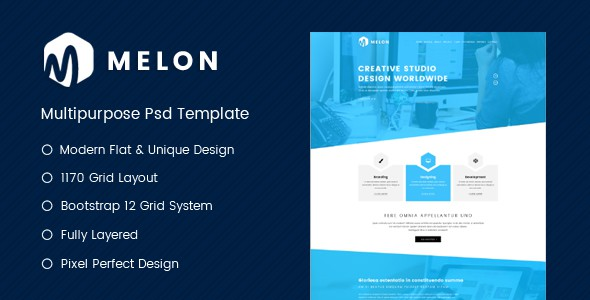 Melon - One Page Business & Corporate Website PSD Template