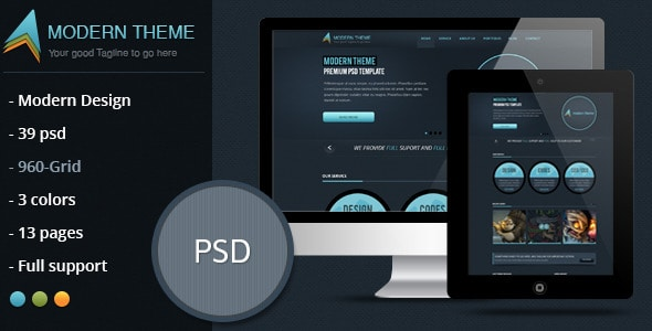Modern Theme: Modern and Clean PSD