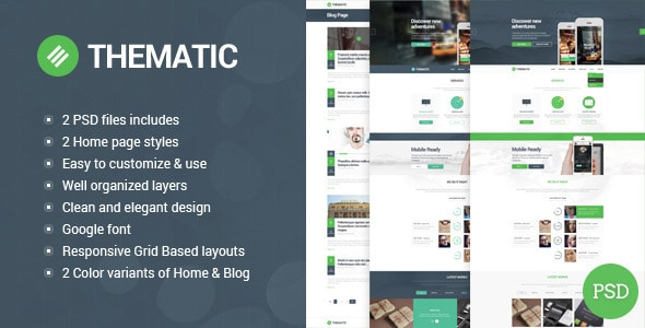 Thematic - clean, modern and flat PSD theme.
