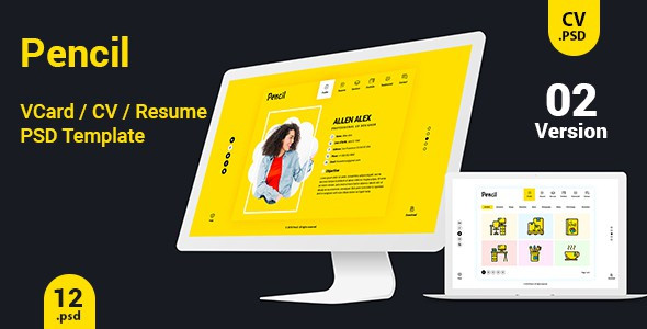Virtual Business Card  CV Resume PSD Template