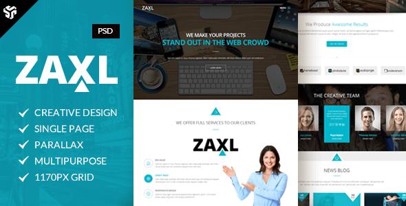 Zaxl | Multi-Purpose Parallax PSD Landing Page