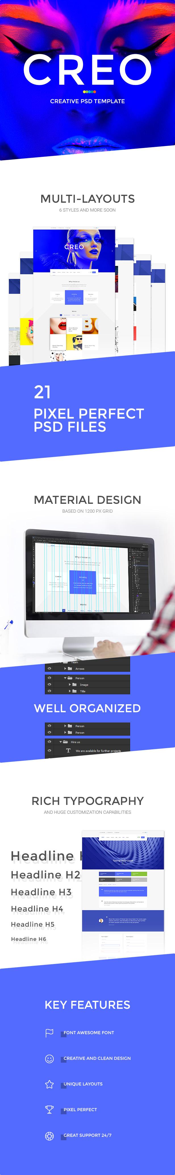 Creo — Modern Design Studio & Creative Agency PSD Template - 2
