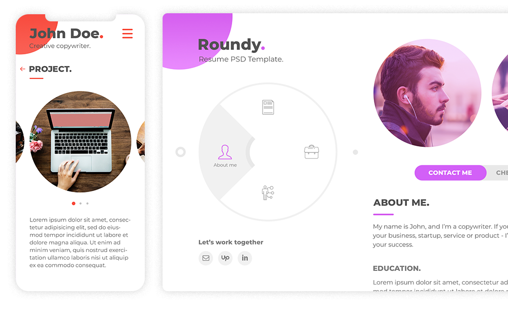 Roundy - Personal Resume / CV / Vcard PSD Template - 1