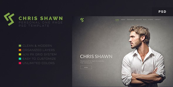 Chris Shawn - One Page PSD Template