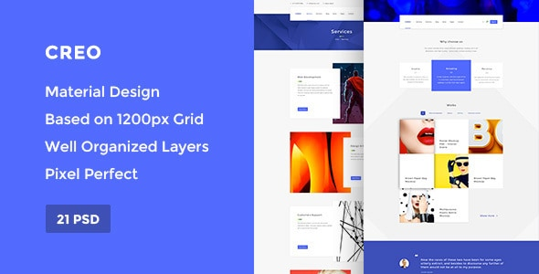 Creo — Modern Design Studio & Creative Agency PSD Template