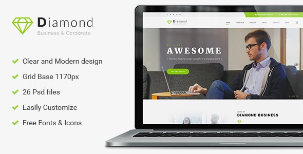 Diamond - Business & Consulting PSD Template