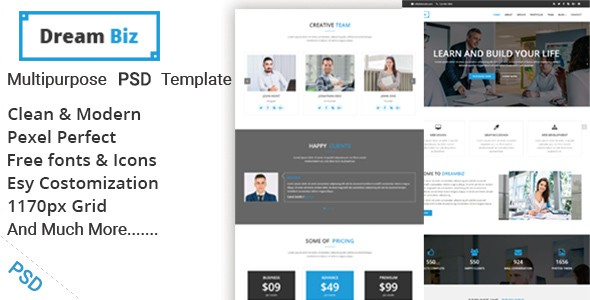 DREAMBIZ - one page Multipurpose psd template