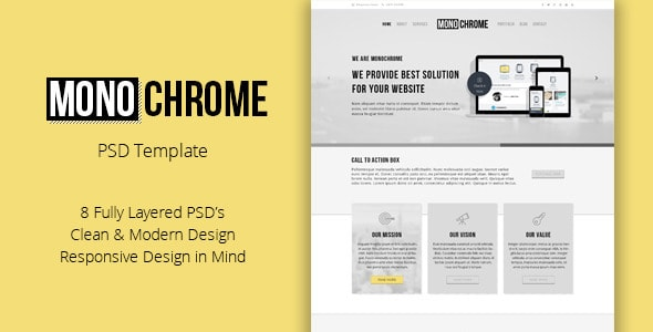 Monochrome - Corporate PSD Template