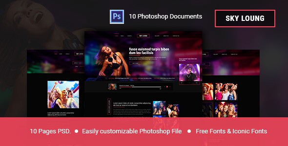 Sky Loung  - Event, DJ, Party, Music Club PSD Template