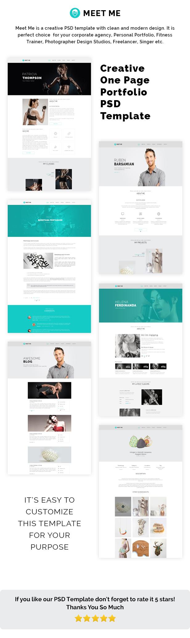 Meet Me - One Page Creative Portfolio PSD Template - 1