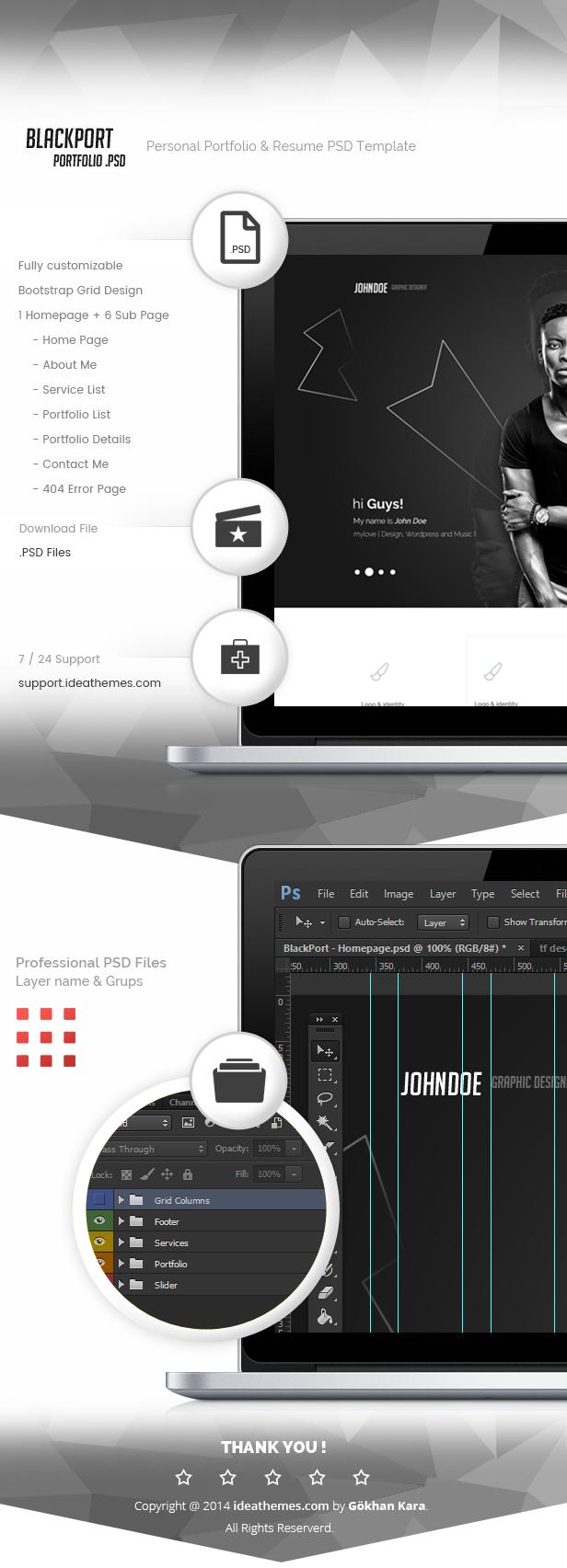 BlackPort - Personal Portfolio & Resume PSD Template - 1