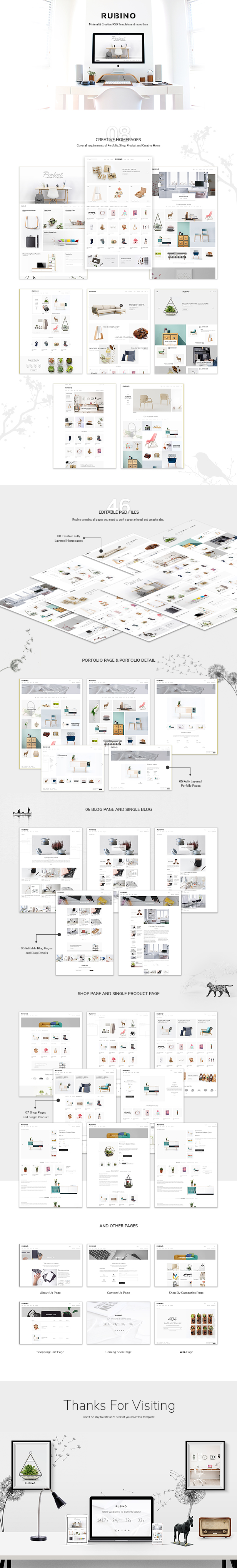 Rubino - Minimal & Creative PSD Template - 2