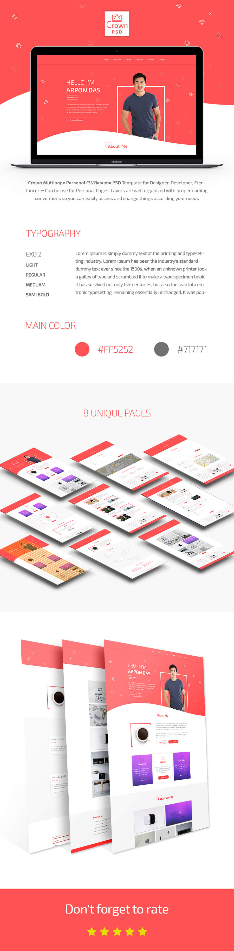 Crown Multipage Personal CV/Resume PSD Template - 1