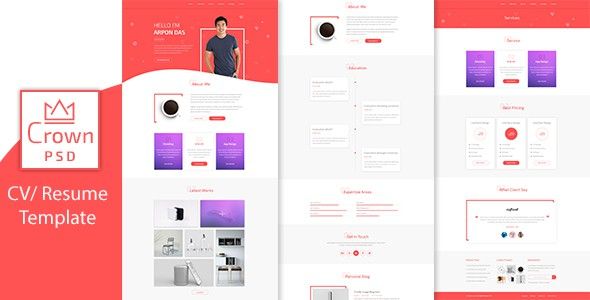 Crown Multipage Personal CV/Resume PSD Template