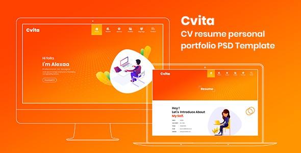 Cvita - CV Resume Personal Portfolio PSD Template