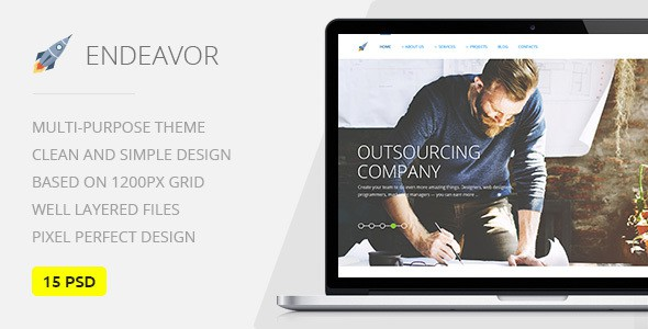 Endeavor — Multipurpose IT & Digital Company PSD Template