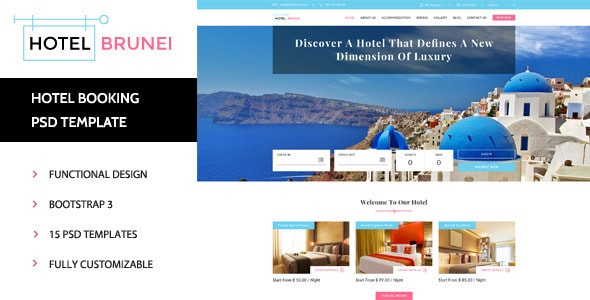 Hotel Brunei - Booking PSD Template