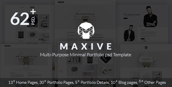 Maxive Multi-Purpose Minimal Agency, Personal, Photography, Portfolio PSD Template