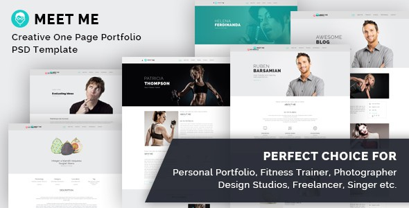 Meet Me - One Page Creative Portfolio PSD Template
