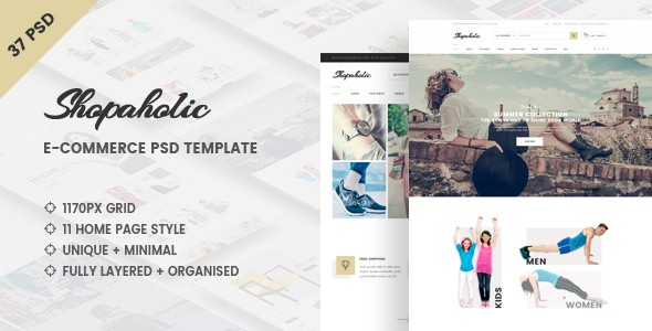 Shopaholic - Clean e-Commerce PSD Template
