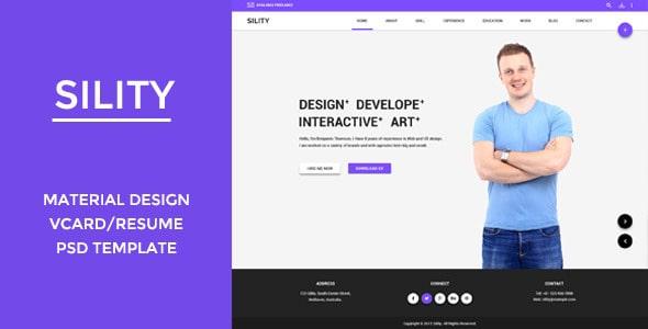 Sility - Material Design Vcard & CV PSD Template