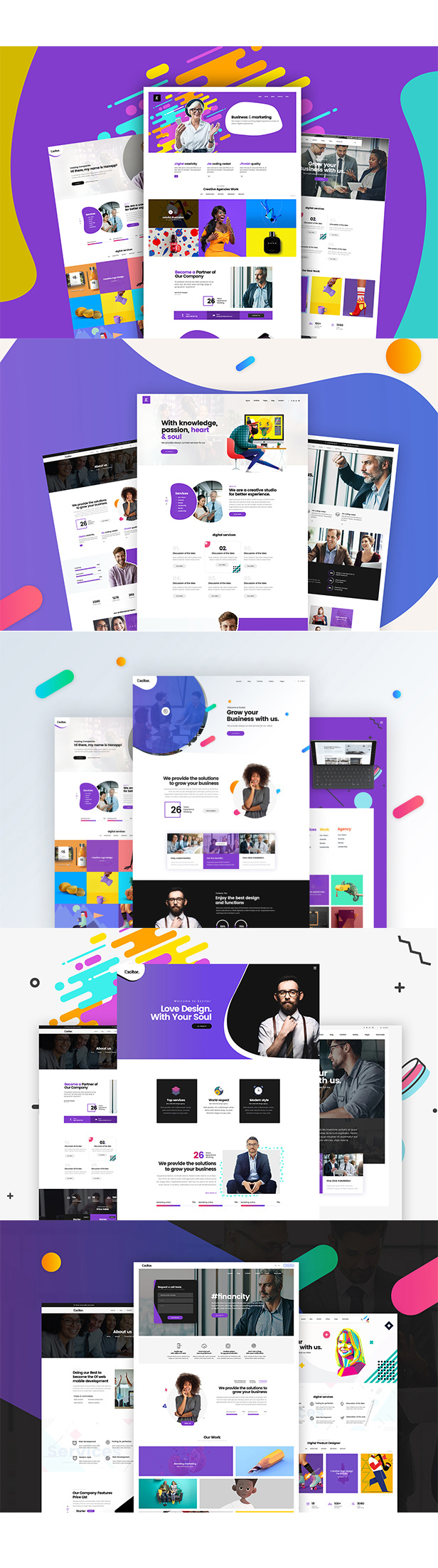 Excitor - Creative & Clean Multipurpose Business, Portfolio, Agencies PSD Template - 1