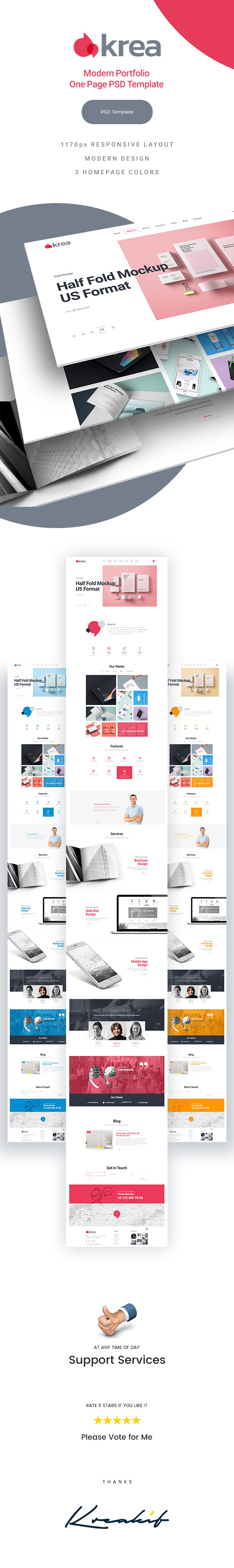 Krea - Modern Portfolio One Page PSD Web Template - 1