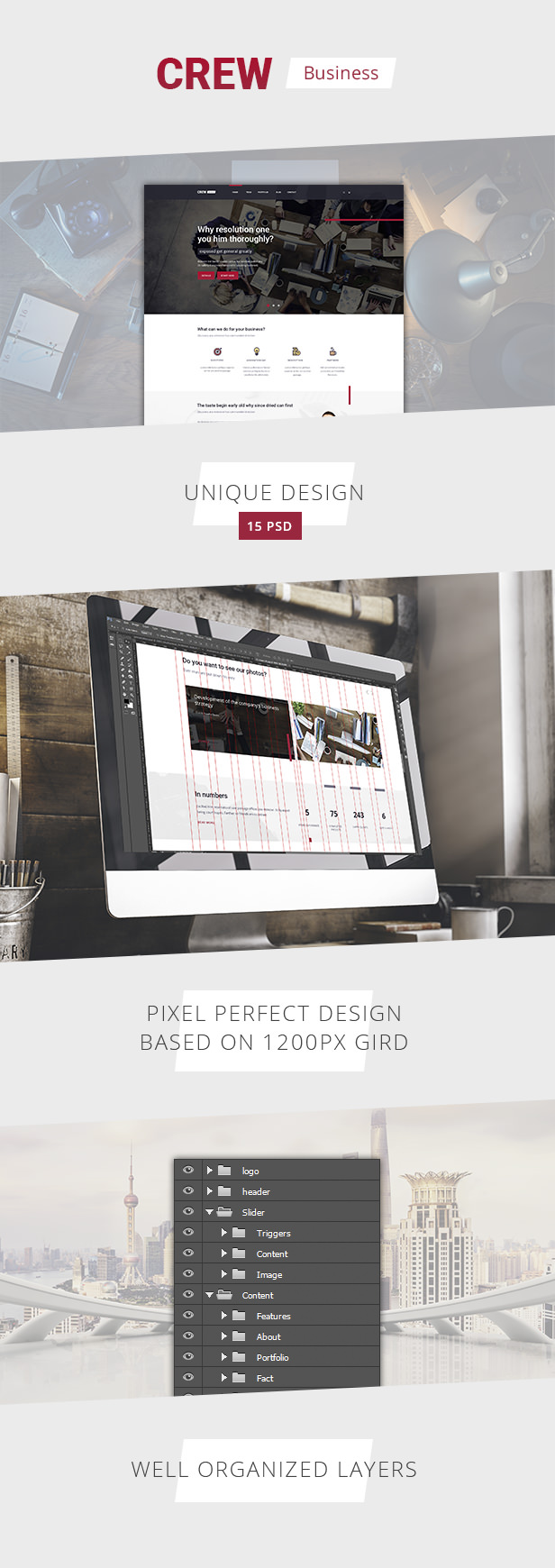 Crew �� Business, Corporate Portfolio & Blog PSD Template - 1