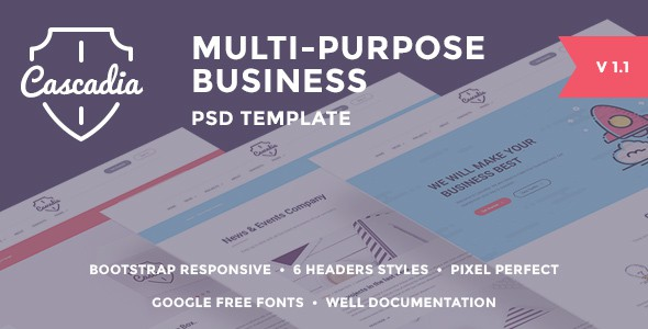 Cascadia - Multipurpose Business Agency/Personal Portfolio PSD Template