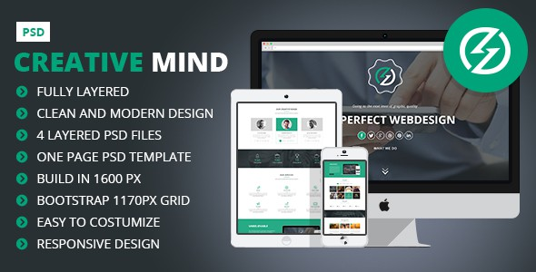 Creative Mind - Creative One Page PSD Template