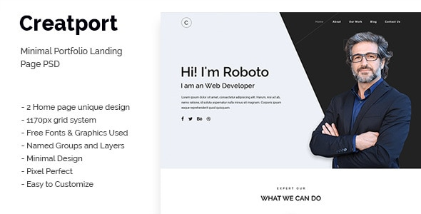 Creatport - Minimal Portfolio Landing Page PSD Templates