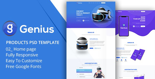 Genius - Products PSD Template