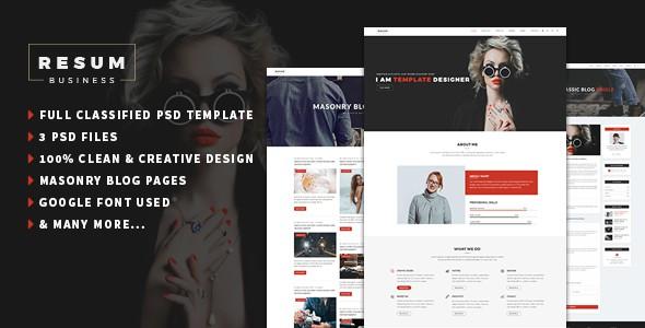 resum-Portfolio,Resume One Page PSD Template