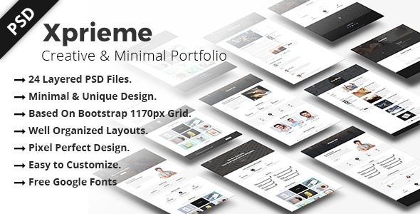 Xprieme - Creative and Minimal Portfolio PSD Template.