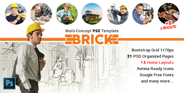Brick - Multi Concept PSD Template