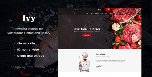 Ivy - Multipurpose Restaurant & Cafe PSD Template