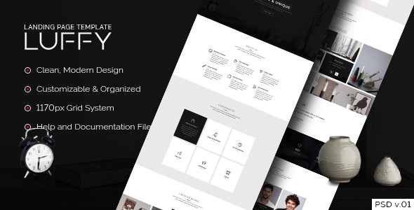 Luffy - Landing Page PSD Template