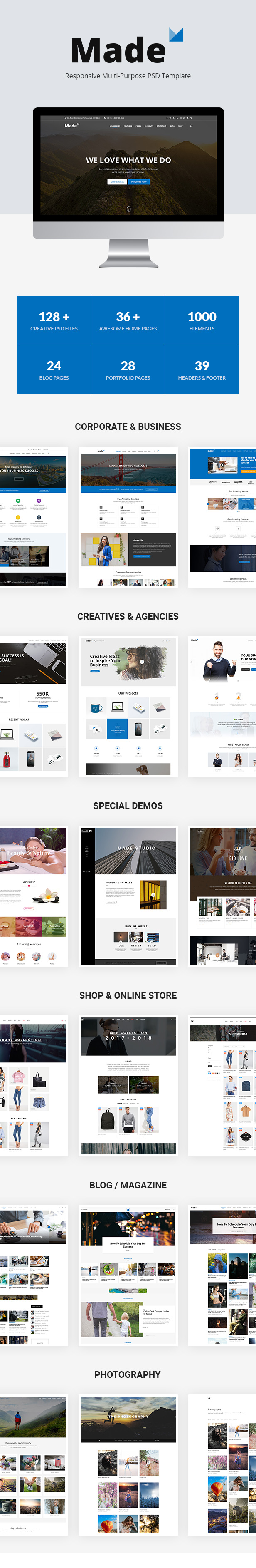 blog, business, clean, corporate, creative, creative agency, creative portfolio, fashion store, landing page, minimal, multi-purpose, online shop, photography, psd template boxed, business, content, corporate, creative, full width, mega menu, multi-purpose