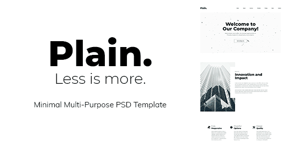 Plain - Minimal Multi-Purpose PSD Template